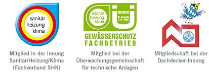 SHK Gewässerschutz Fachbetrieb Dachdecker-Innung Logos